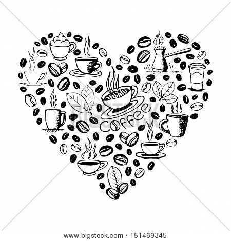 Heart shape filled by hand drawn coffee doodles isolated on white background. Coffee cup, cezve, beans, leaves symbols and lettering. Sketchy vector eps8 illustration.