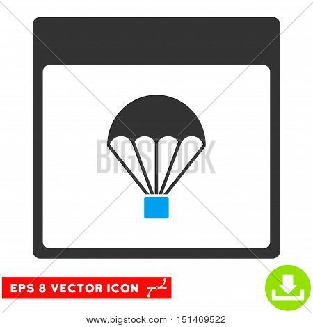 Parachute Calendar Page icon. Vector EPS illustration style is flat iconic bicolor symbol, blue and gray colors.