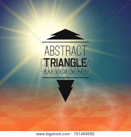 Abstract sunset with triangle field, perspetive pattern in sunny fog, geometrical vibrant multicolored vector background illustration