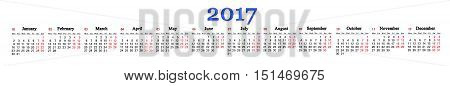 calendar for 2017 with twelve months in a row on the white