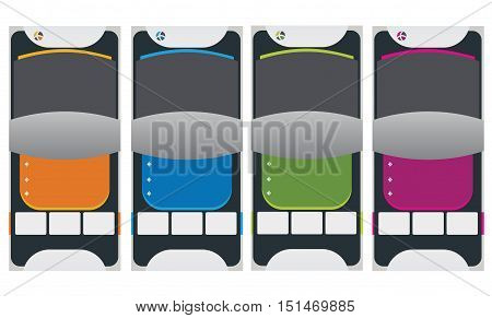 Banner design template four different color illustration.
