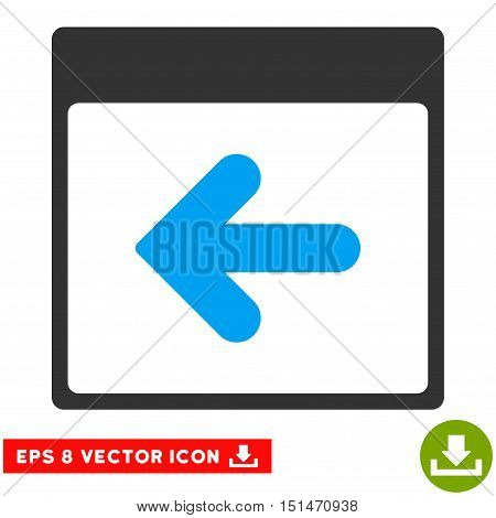 Previous Calendar Day icon. Vector EPS illustration style is flat iconic bicolor symbol, blue and gray colors.