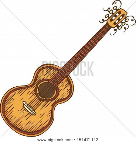 Musical Instrument. Wooden Acoustic Guitar. Isolated on a White