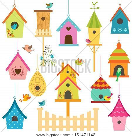 Set of colorful bird houses and little birds.