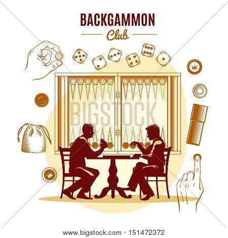 Backgammon club vintage style design with dice chips silhouettes of men on game board background vector illustration