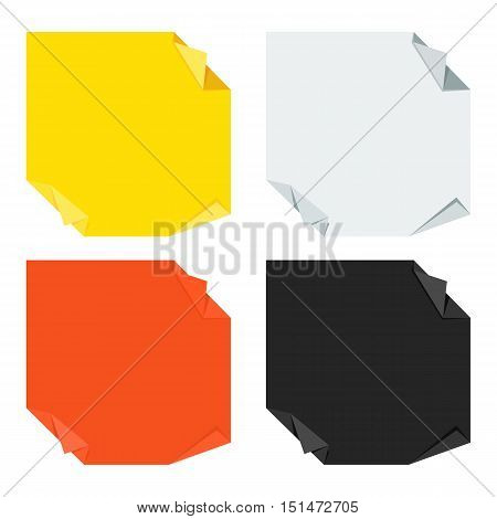 Set of bright blank paper note origami stickers. Flat cartoon note paper illustration. Objects isolated on a white background.
