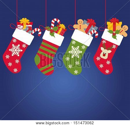 Christmas socks with gifts on a blue background