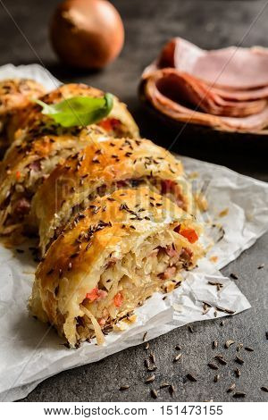 Savory Strudel With Sour Cabbage, Bacon And Onion