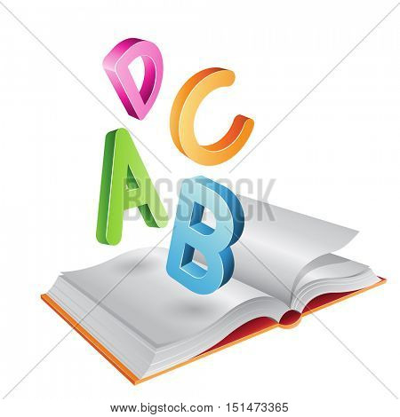 Illustration of Open Book and Flying Letters isolated on a White Background