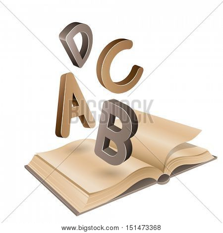 Illustration of Open Old Book and Flying Brown Letters isolated on a White Background