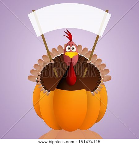 an illustration of funny turkey in pumpkin for Thanksgiving Day