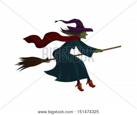 Halloween. Old witch flying on broom. Vector