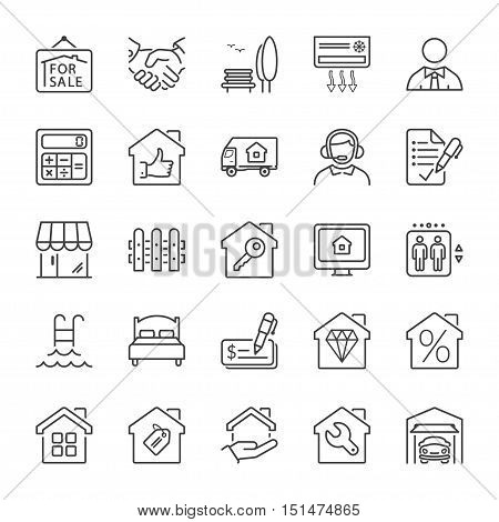 real estate and building icon set thin line black color
