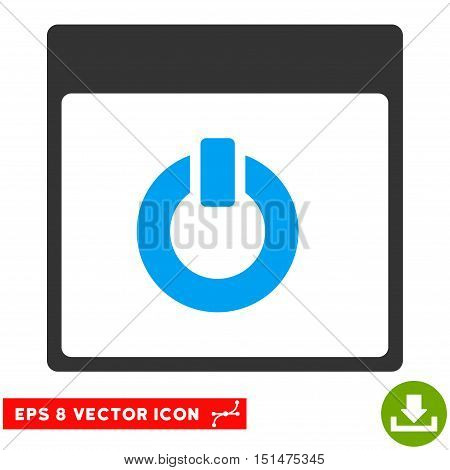Switch on Calendar Page icon. Vector EPS illustration style is flat iconic bicolor symbol, blue and gray colors.