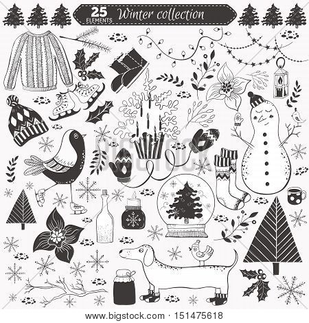 Vector winter collection on white background. 25 doodles elements Design set for winter holidays decoration.
