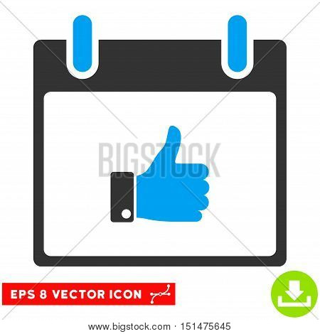 Thumb Up Hand Calendar Day icon. Vector EPS illustration style is flat iconic bicolor symbol, blue and gray colors.