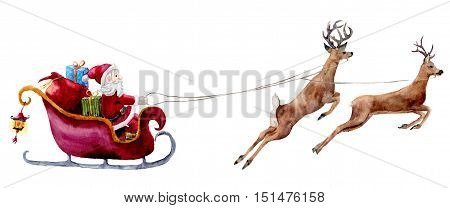 Watercolor Santa Claus illustration. Hand painted Santa with gift bags and boxes rides in sleigh pulled by reindeer. Christmas print isolated on white background