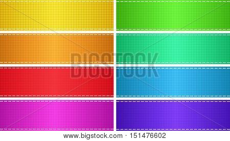 vector set of colored glossy empty rectangular banners