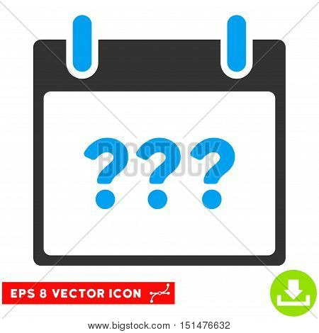 Unknown Day Calendar Page icon. Vector EPS illustration style is flat iconic bicolor symbol, blue and gray colors.