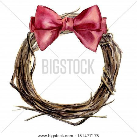 Watercolor hand painted christmas wreath of twig with pink bow. Wood wreath for design, print or background.