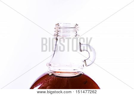 Glass Jar Jug Clear Brown Maple Syrup Container White Isolated Background Ingredient Food Sweet Dess