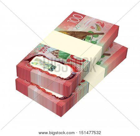 New Zealand dollar bills isolated on white background. 3D illustration.
