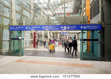 HONG KONG - NOVEMBER 03, 2015: Hong Kong International Airport at daytime. Hong Kong International Airport is the main airport in Hong Kong. It is located on the island of Chek Lap Kok.