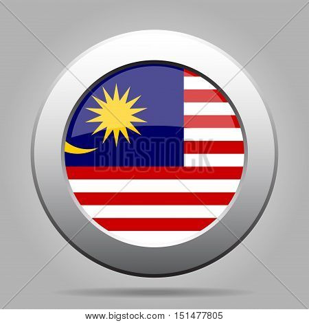 National flag of Malaysia. Shiny metal gray round button with shadow.