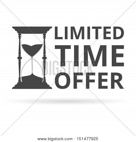 Limited time offer, hourglass symbol on white background