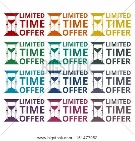 Limited time offer, hourglass symbol icons set