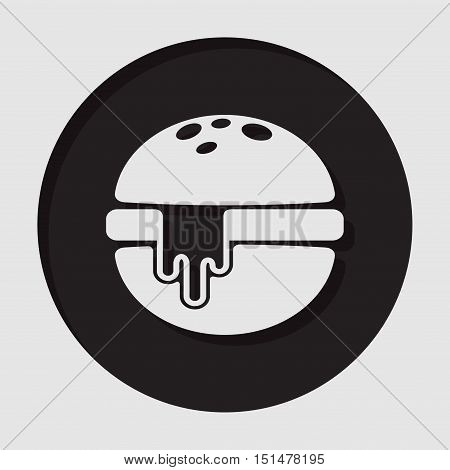 information icon - dark circle with white hamburger with melted cheese and shadow