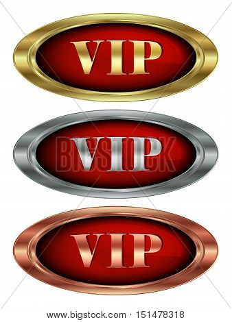 Vector set of icons from the oval with the inscription of gold silver and bronze VIP on red glossy background