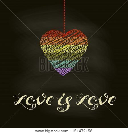 Hand drawn lettering - Love is Love. LGBT community design. Cute lettering with rainbow heart. Vector lettering for t-shirts, wedding invitations, posters.