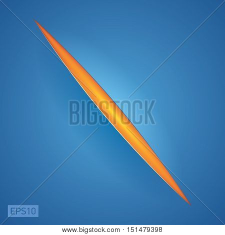 Cut on the blue surface, inside a bright orange background, vector design