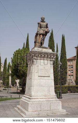 Cervantes monument in Valladolid, Castilla y Leon Spain