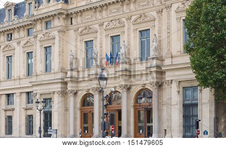 Facade Of The Court Registrar Of The Commercial Court, Paris, France.