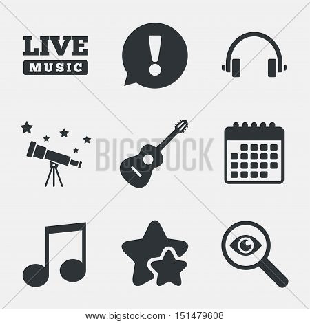 Musical elements icons. Musical note key and Live music symbols. Headphones and acoustic guitar signs. Attention, investigate and stars icons. Telescope and calendar signs. Vector