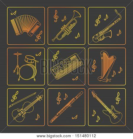 Vector thin line icons with different music instruments synthesizer, drums, accordion, violin, trumpet, harp, drum saxophone electric guitar flute