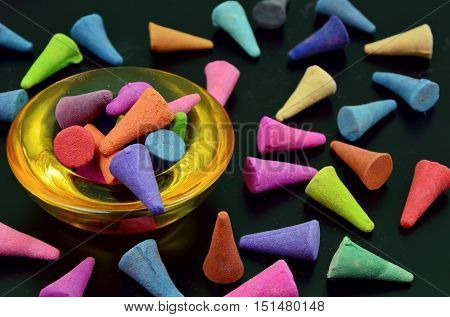 colorful incense or frankincense (soft focus,lens blur)