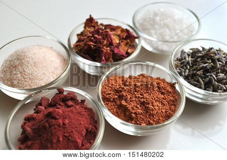 Cosmetic ingredients for spa bath salts, side view