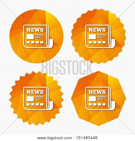 News icon. Newspaper sign. Mass media symbol. Triangular low poly buttons with flat icon. Vector