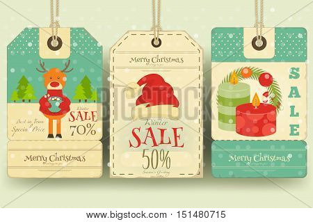 Christmas Sale Tags in Retro Style with Xmas Decoration. Winter Sell-out Labels Collection. Vector Illustration.