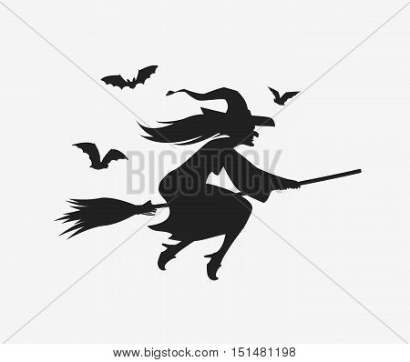 Silhouette witch flying on broomstick. Halloween vector illustration