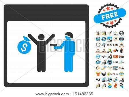 Arrest Calendar Page pictograph with bonus calendar and time management graphic icons. Vector illustration style is flat iconic symbols, blue and gray colors, white background.