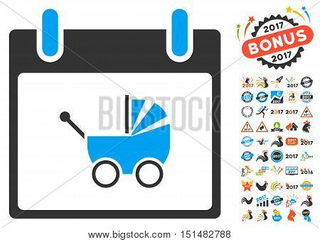 Baby Carriage Calendar Day pictograph with bonus calendar and time management images. Vector illustration style is flat iconic symbols, blue and gray colors, white background.