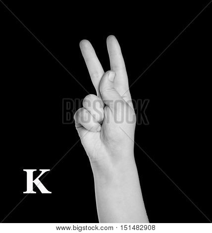 The Letter K. Finger Spelling the Alphabet in American Sign Language (ASL).