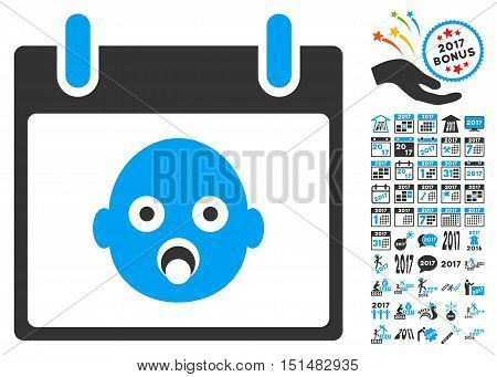 Baby Head Calendar Day icon with bonus calendar and time management graphic icons. Vector illustration style is flat iconic symbols, blue and gray colors, white background.