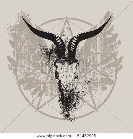 vector illustration with skull of goat and wings and pentagram with splashes and curls