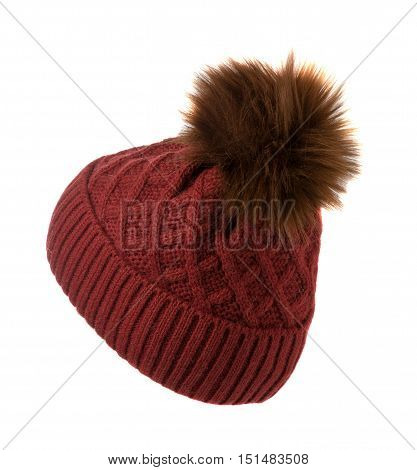 Knitted Hat Isolated On White Background .hat With Pompon Red