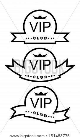 Three vector round with different printing ribbons with the inscription VIP club and a crown
